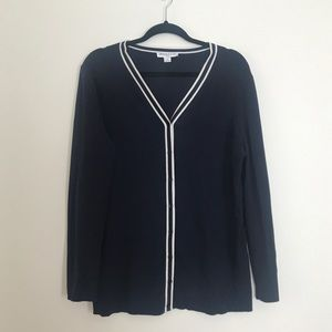 Pendleton Silk Blend Rib Knit Cardigan Navy White